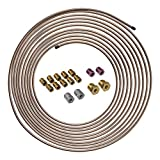 4LIFETIMELINES Copper-Nickel Brake Line Tubing Coil and Fitting Kit - 3/16 Inch, 25 Feet