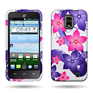 CoverON« Pink Purple Hibiscus Flower Hard Slim Case for ZTE Solar - with Cover Removal Pry Tool