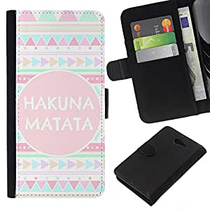 KingStore / Leather Etui en cuir / Sony Xperia M2 / Motif Quote texte rose