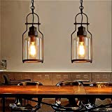 """SUSUO Lighting 6"""" Wind Vintage Industrial Glass Pendant Ceiling Hanging Light with Cylinder Glass Shade,Antique Copper Finish"""