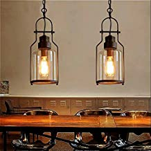 "SUSUO Lighting 6"" Wind Vintage Industrial Glass Pendant Ceiling Hanging Light with Cylinder Glass Shade,Antique Copper Finish"