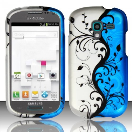 LF Designer Hard Case Cover, Lf Stylus Pen, Screen Protector and Wiper For T-Mobil Samsung T599 Galaxy Exhibit (Blue Vine)