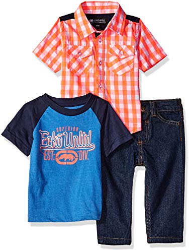 (Ecko Baby Boys 3 Piece Sport, T-Shirt, and Jean Set, Multi Plaid 12M)