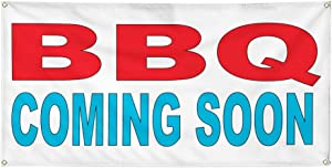 Vinyl Banner Multiple Sizes BBQ Coming Soon Red Blue Food Bar Restaurant Truck Business Outdoor Weatherproof Industrial Yard Signs 6 Grommets 36x72Inches