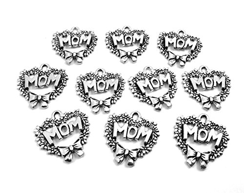 Set of Ten (10) Silver Tone Pewter Heart Wreath with MOM Charms (Heart Wreath Charm)