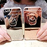 Sufang Lady Cartoon Bear TPU Ring Holder Stand Mirror Phone Case Cover for IPhone SE 6 6S 6S Plus 7 Plus Samsung Galaxy S6 Edge S7 S7 Edge Rose gold iPhone 6S