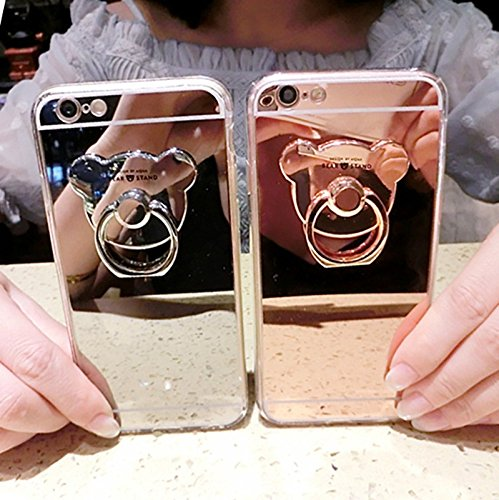 Sufang Lady Electroplating Cartoon Bear TPU Ring Holder Stand HD Mirror Phone Case Cover for SE 6 6S 6S Plus, Iphone7 7 Plus and Samsung Galaxy Gold Samsung Galaxy S7 Edge by Sufang