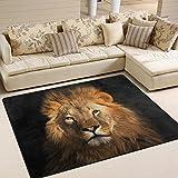 ALAZA Art Lion Black Area Rug Rugs for Living Room Bedroom 7′ x 5′ For Sale
