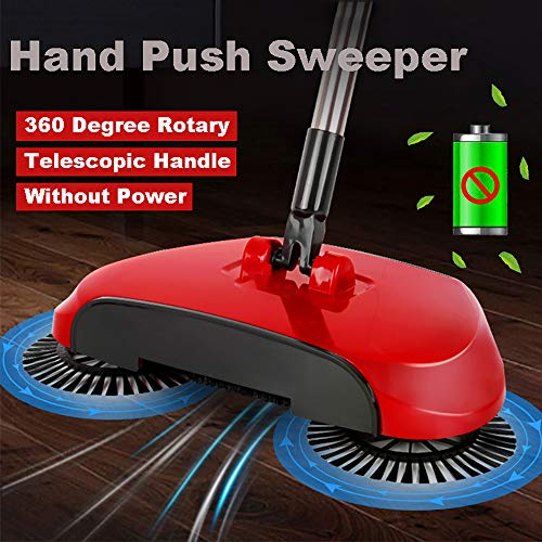 (Lovyno Automatic Hand Push Sweeper Broom,Household Cleaning Vacuum Cleaner Sweeping System Without Electricity (Red))