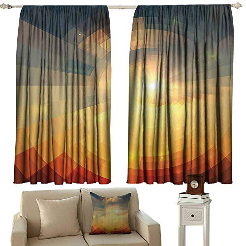 Window Curtains,Abstract Sunrise Sunbeams with Clear Sky Horizon Vector Image in Pixels Mosaic Artwork,Simple Stylish,W55x39L Inches,Multicolor