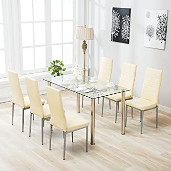 Amazon.com - IDS Home 7 Piece Glass Dining Table and Chair Set for ...