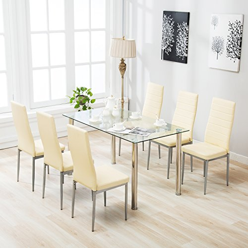 mecor 7 PC Dining Sets Glass Table and Leather Chiars,Beige