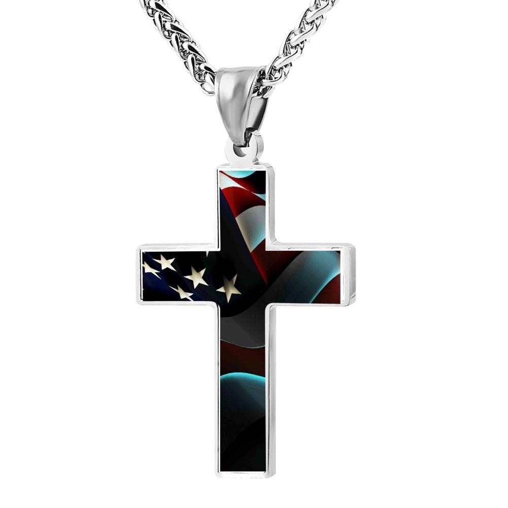Fashion American Flag Patriotic Christian Cross Necklace Religious Jewelry Pendant