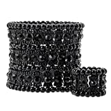 YACQ Jewelry Women's Multilayer Crystal Stretch Bracelet Ring Set