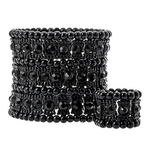 YACQ Jewelry Womens Multilayer Crystal Stretch Bracelet Ring Set