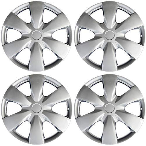 15 inch Hubcaps Best for 2007-2009 Toyota Prius - (Set of 4) Wheel Covers 15in Hub Caps Silver Rim Cover - Car Accessories for 15 inch Wheels - Snap On Hubcap, Auto Tire Replacement Exterior Cap) (Sporty Jalopy)
