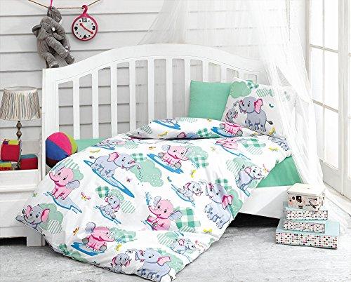 LaModaHome Animals Baby Bedding Set, 100% Cotton - Pink and