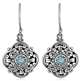 Artisanica Blue Topaz Sterling Silver Floral Artistic Dangle Earrings