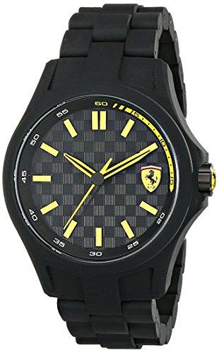 Ferrari Men's 0830156 Pit Crew Black Watch with Link Bracelet - Patterned Round Dial