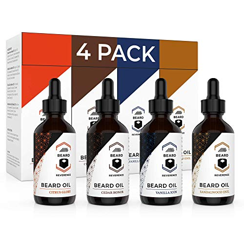 Beard Oil 4 Pack (Vanilla, Sandalwood, Cedarwood, Citrus) – All Natural Leave-in Conditioner to Soften and Style Beards and Mustaches – Made with Tea Tree, Jojoba, Argan Oils – 1oz Each