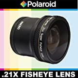 Polaroid Studio Series .21x Super Fisheye Lens With Macro Attachment, Includes Lens Pouch and Cap Covers For The Olympus Evolt E-30, E-300, E-330, E-410, E-420, E-450, E-500, E-510, E-520, E-600, E-620, E-1, E-3, E-5 Digital SLR Cameras Which Have Any Of These (14-42mm, 40-150mm, 70-300mm) Olympus Lenses