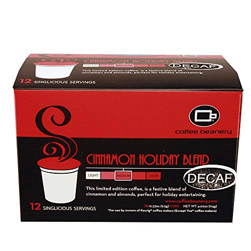 Coffee Beanery Cinnamon Holiday Blend SWP Decaf Singlicious Servings Single-cup Coffee Pack Sampler for Keurig K-cup Brewers ()