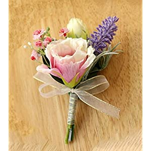 MOJUN Groom Boutonniere Artificial Flowers Boutonniere Brooch for Wedding Party Prom, Pack of 1, Pink 51