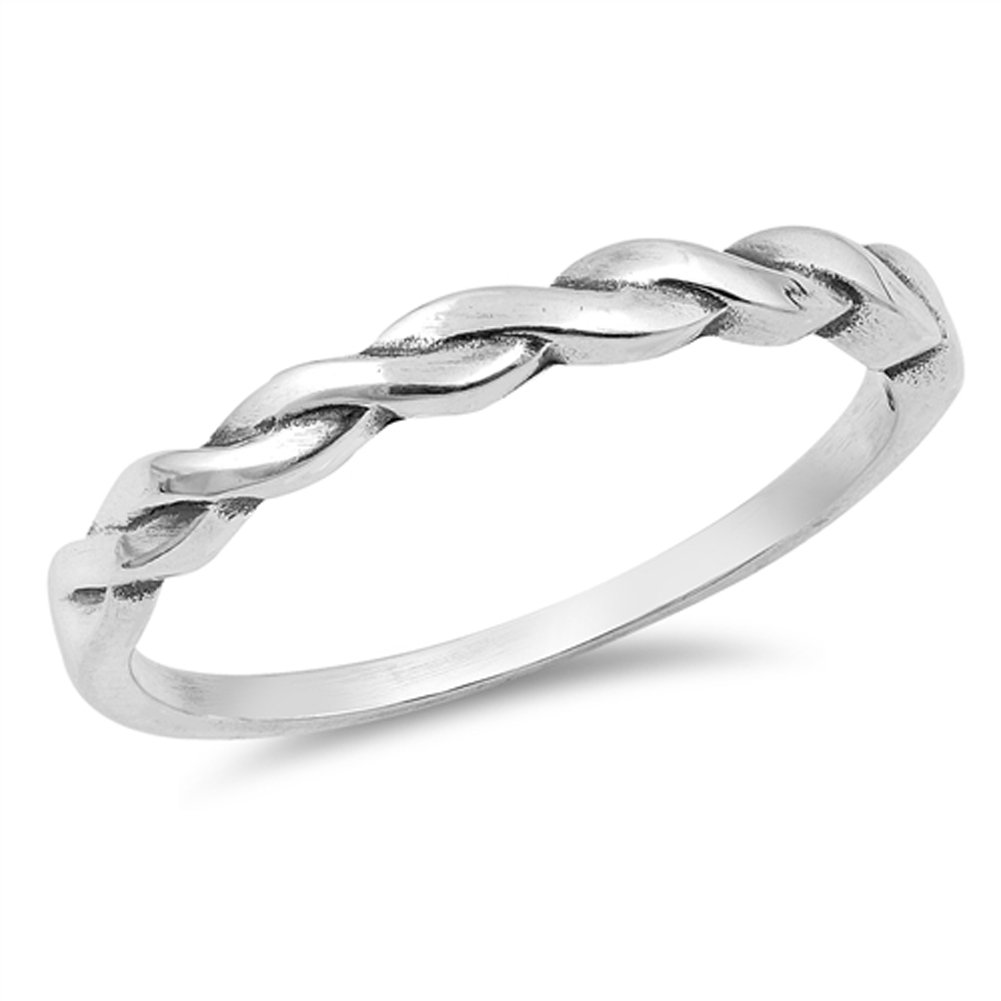 Oxidized Braid Weave Knot Stackable Ring New 925 Sterling Silver Band Size 8