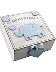 Oaktree Gifts Baby Boy Wooden Memories Keepsake Box Vintage Style
