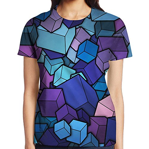 Womens Fashion Stereo Color Block Sublimated 3D Full Shirt Tees Large