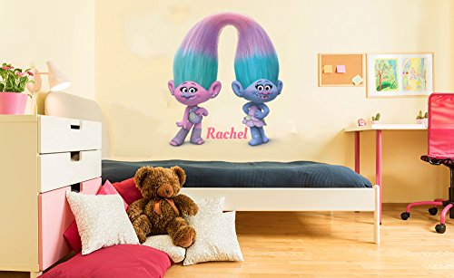 Trolls Satin And Chenille Personalized Vinyl Wall Decal