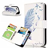 iPhone SE Phone Case Wallet,5S Cases,IVY [Blue Feather]-[Relief][9 Credit Cards Slot][Photo Album][PU Leather Wallet][Kickstand Case] For Apple iPhone 5S / SE
