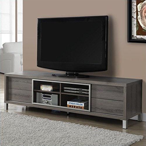 Monarch Specialties I 2536, TV Console, Euro Style, Dark Taupe, 70'' by Monarch Specialties