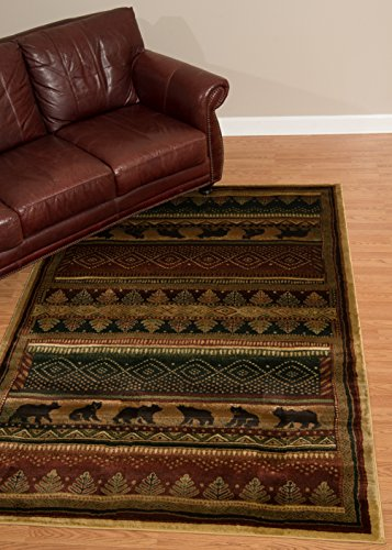United Weavers of America Genesis Collection Bear walk Heavyweight Heat Set Olefin Rug, 5-Feet3-Inch by 7-Feet 6-Inch, Lodge