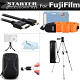 Starter Accessories Kit For The Fuji Fujifilm FinePix XP70, XP80, XP90, XP120 Waterproof Digital Camera Includes Carrying Case + 50'' Tripod W/Case + Micro HDMI Cable + Float Strap + Mini Tripod + More