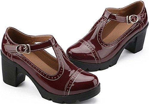 Ppxid Kvinna Brittisk Stil T-bar Plattform Krängt Oxford Skor Arbete Skor Vinröd