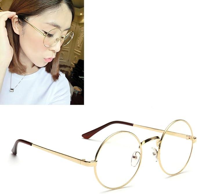Waymeduo Unisex Round Retro Round Metal Frame Clear Lens Glass Vintage Geek Glasses