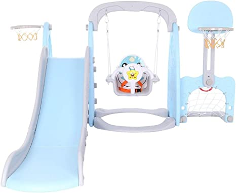 BTM Multifunctional Plastic Kids 5 in 1 Toddler Climber and Swing Set with Removable Basketball Hoop Extra Long Slide and Ball,Easy Climb Stairs for Indoors /& Outdoor Safe BLUE