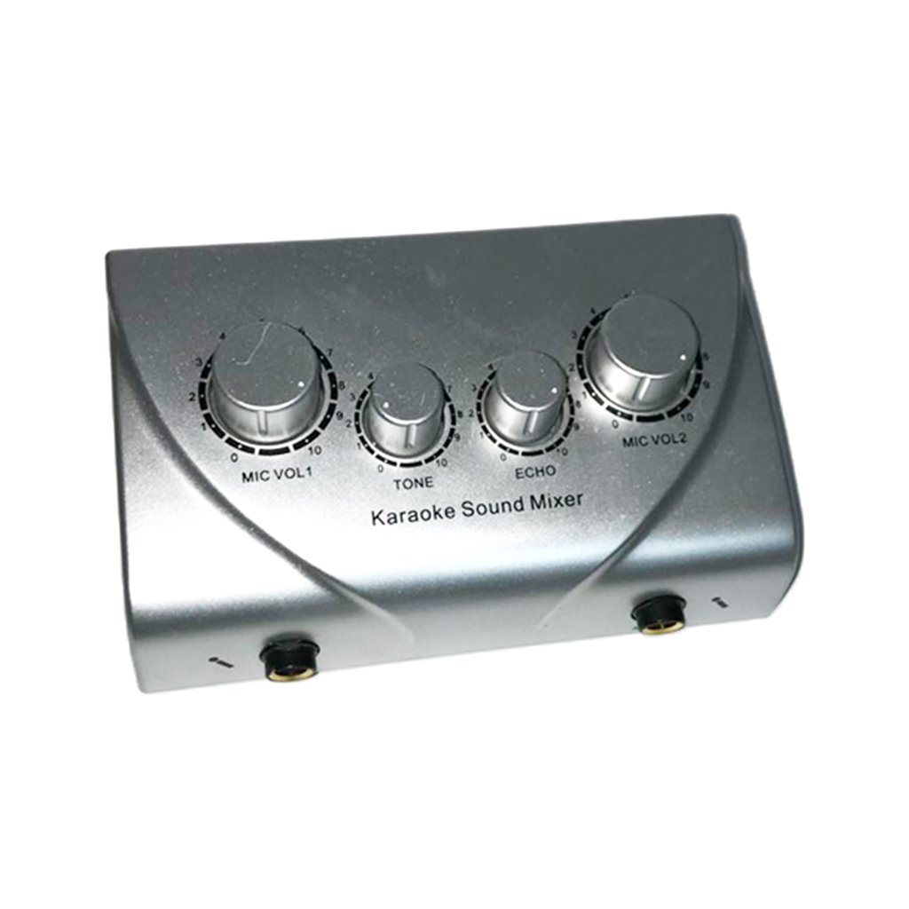 MonkeyJack Portable Audio Stereo Echo Karaoke Digital Audio Sound Echo Mixer with Cable for Computer - silver