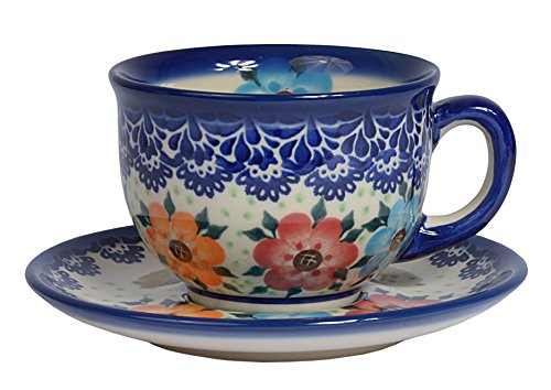 Traditional Polish Pottery, Handcrafted Ceramic Teacup and Saucer 210ml, Boleslawiec Style Pattern, F.101.BLUELACE