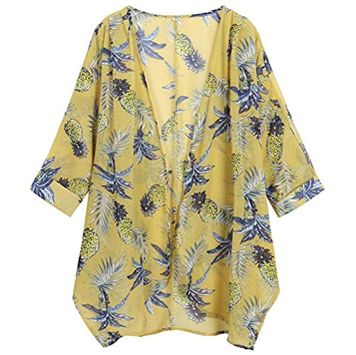 GOVOW Womens Casual Solid Sleeveless Draped Irregular Hem Soft Open Cardigan Top Blouse Yellow]()