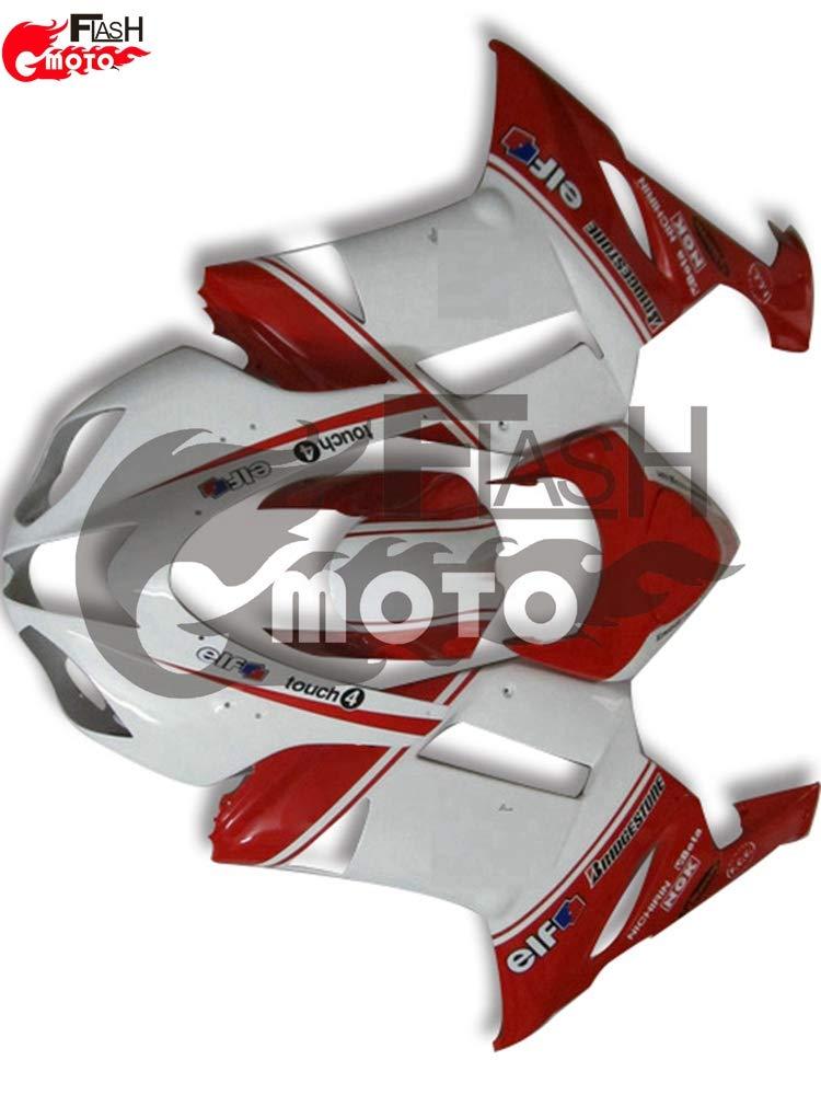 FlashMoto kawasaki 川崎 カワサキ ZX6R ZX-6R Ninja 636 2007 2008用フェアリング 塗装済 オートバイ用射出成型ABS樹脂ボディワークのフェアリングキットセット (ホワイト,レッド)   B07L896ZNX