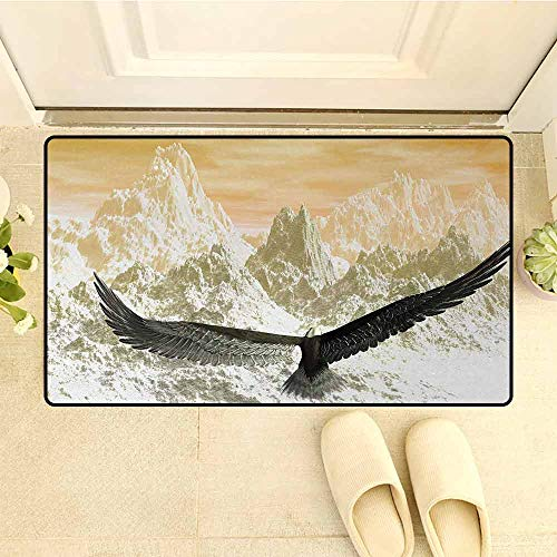HouseLookHome Birds Non Slip Backing Doorway mat Eagle Flying Towards The Mountains in The Sunset Clouds Wild Nature Landscape Print Door Mats for Entrance Areas W19.7 x L31.5 Inch Orange Olive
