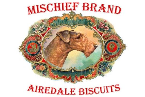 Airedale Terrier Mischief Brand Collectible Biscuit Tin with - Tin Biscuits Collectable