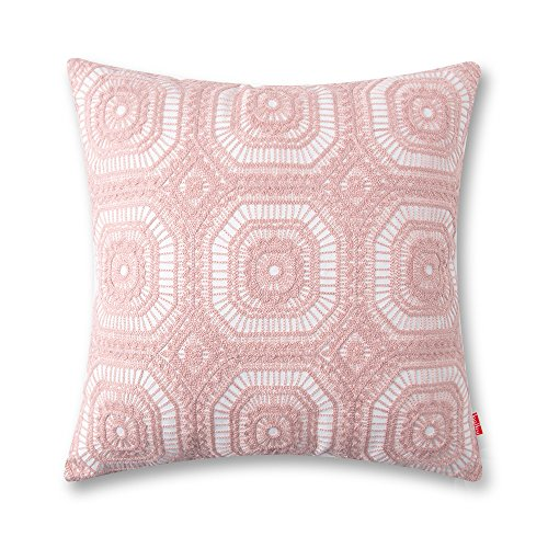 baibu Embroidered Cushion Cover Unique Pattern Designs Throw Pillow Cover Pink Pink Embroidered Pillow