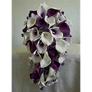Purple Ivory White Calla Lily Cascading Bridal Wedding Bouquet & Boutonniere 98