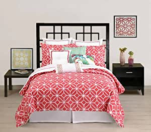 Trina Turk 3-Piece Trellis Comforter Set, Queen, Coral