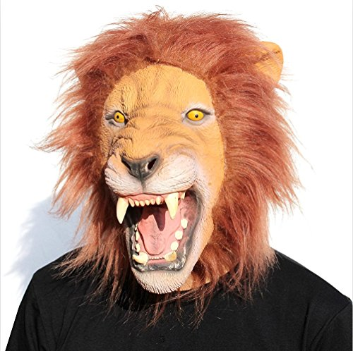 QTMY Latex Rubber Animal Lion Mask for Halloween Party Costume (Open -
