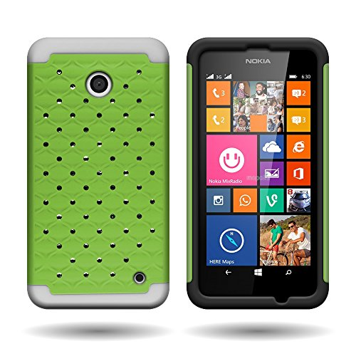 CoverON Hybrid Dual Layer Diamond Cover Case for Nokia Lumia 635 - Neon Green Hard Rubber + White Soft - Phone Girls Nokia Cases 635 For