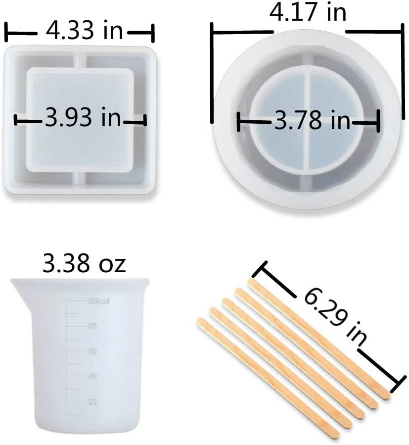 Silicone Measuring Cup and Stirring Sticks Including Round and Square Resin Ashtray Mold Ashtray Mold for Resin Silicone Resin Ashtray Mold for DIY Resin Art Silicone Gloves